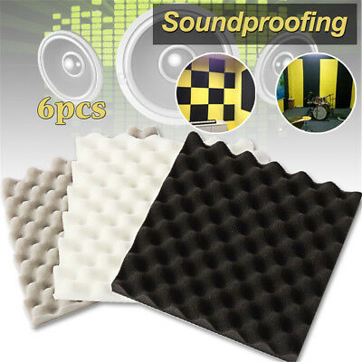 6PCS Acoustic Foam Sound Stop Absorption Treatment Proofing Panel 305*305*40mm