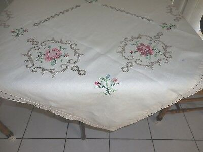 Semco Craft Table Cloth Hand Made Embroidery Design 51 Roses Cross Stitch  Linen