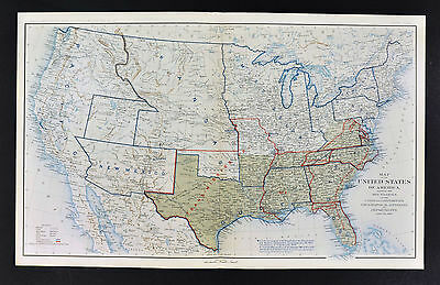 Civil War Map June 1862 United States Confederate West Territories Pony Express