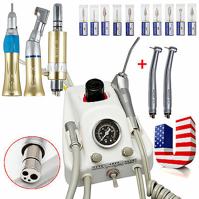 Dental Portable Air Turbine +2 High Speed Turbine+ Slow Handpiece Kit +10*Drills