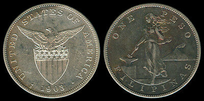 1903-S US Philippines 1 PESO Crown Size Silver Coin - Stock #Z8