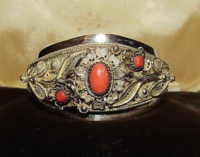 Intricate, Antique, Persian, Sterling Silver Bracelet With Fine Coral Gems