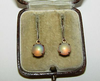 Magical, Antique, 9 Ct Gold Earrings With Fine Saphiret
