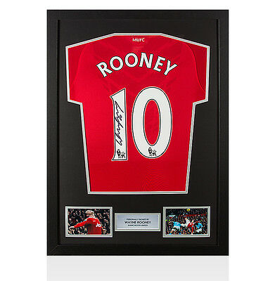 Framed Wayne Rooney Signed Manchester United Shirt - Overhead Kick Autograph