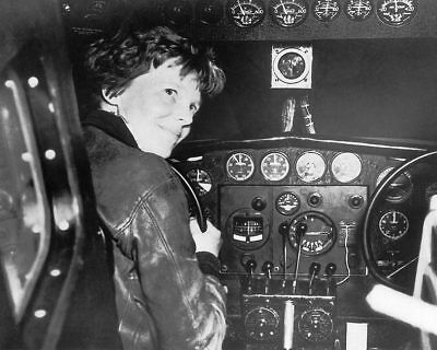 Female Aviator Amelia Earhart in Cockpit 11x14 Silver Halide Photo Print