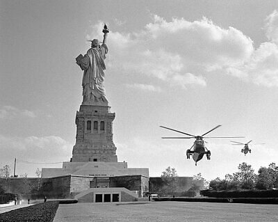 LBJ Marine One at Statue of Liberty NYC 11x14 Silver Halide Photo Print