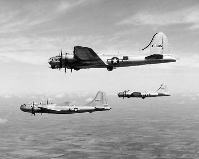 Boeing B-17 & B-29 in Flight WWII 11x14 Silver Halide Photo Print