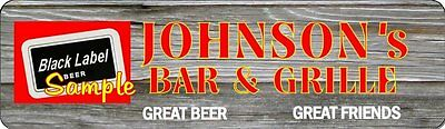 Personalized W/Your Name Black Label Beer Signs Tavern Bar Grill Barn BG