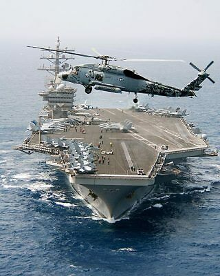 Sea Hawk Helicopter & USS Dwight D. Eisenhower 11x14 Silver Halide Photo Print