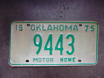 NOS Old License Plate Sign 1975 OK Mobile Home Man Cave Craft Decor Green 9443