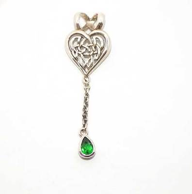 Peter Stone Sterling Silver Celtic Knotwork Pendant Emerald Crystal  NEW