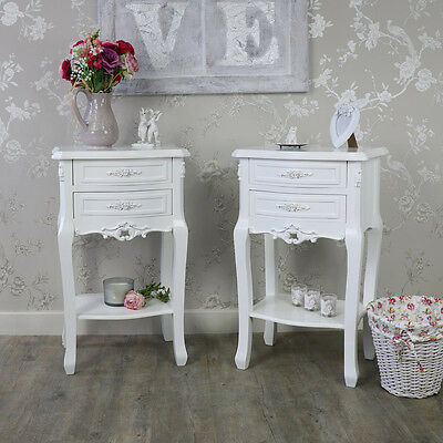 pair 2 white rose bedside tables cabinets shabby vintage chic bedroom furniture