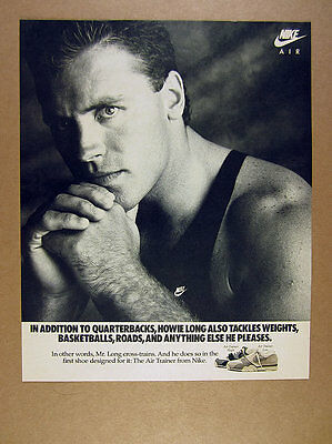 1987 Nike Air Trainer high low Howie Long photo vintage print Ad