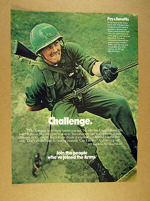 1976 Army Recruitment soldier rappelling rope tower photo vintage print Ad