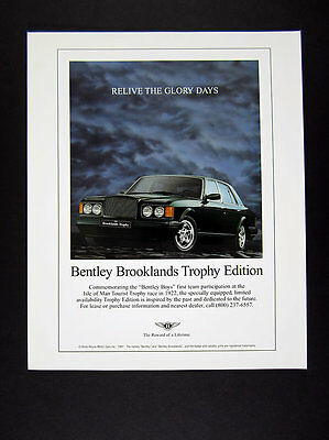 1997 Bentley Brooklands Trophy Limited Edition green car photo vintage print Ad