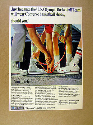 1968 Converse All-Star Chuck Taylor white canvas shoes photo vintage print Ad