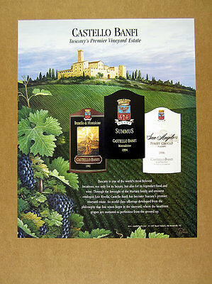 1997 Castello Banfi Wine tuscany vineyard castle art vintage print Ad