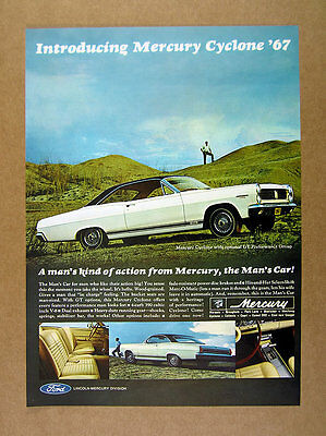 1967 Mercury Cyclone GT white black car photo vintage print Ad