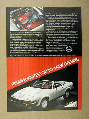1979 Triumph TR7 TR-7 Convertible plaid interior car photo vintage print Ad