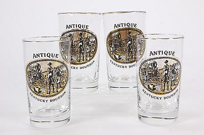 4 Libbey 9 Oz Highball Tumblers 'Antique Kentucky Bourbon' Old Railroad Images