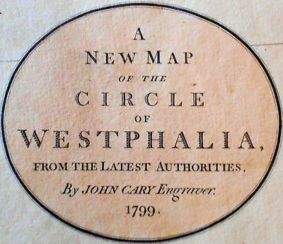 1799 Large Antique Map Chart John Cary Westphalia Circle Europe