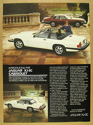 1986 Jaguar XJ-SC Cabriolet white car color photo vintage print Ad