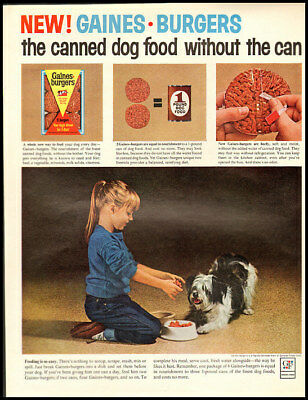 1963 vintage ad for Gaines Burgers Dog Food