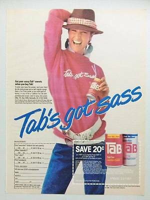 Tab Soft Drink Vintage Magazine Ad Page 1986  Cute Sassy Girl - Sweatshirt Offer