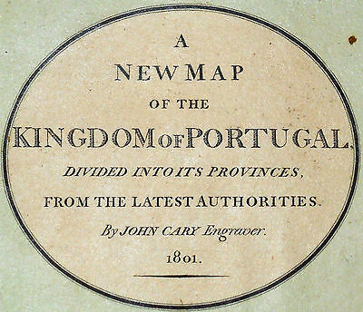 1801 Large Antique Map Chart John Cary Portugal Europe