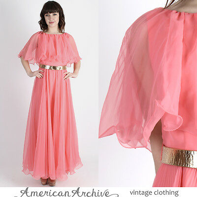 Vintage 70s Coral Chiffon Dress Grecian Wedding Cocktail Party Pleated Maxi M L
