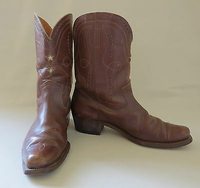 Vintage Handmade Circa 1940 Brown Shorty Leather Cowboy Boots Inlay Tops