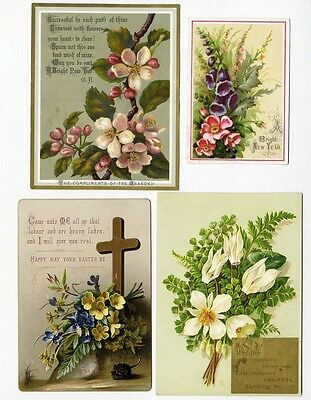 4 VICTORIAN GREETING 1880's Cards CHRISTMAS Easter NEW YEAR Beautiful Flowers