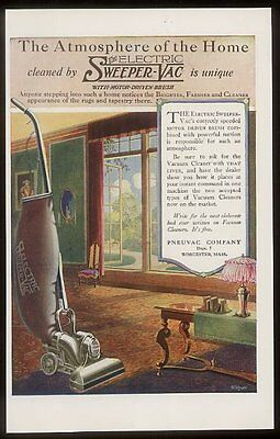 1920 Pneuvac Sweeper Vac electric vacuum cleaner vintage print ad