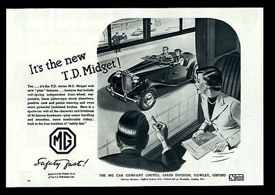 1950 MG M.G. Midget TD car and couple art UK print ad