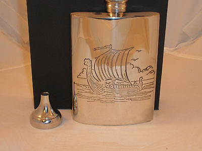6oz PEWTER HIP FLASK WITH A VIKING SHIP ENGRAVED+FUNNEL