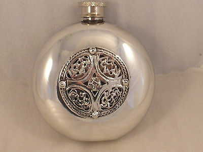 6oz ROUND PEWTER HIP FLASK WITH A CELTIC SHIELD