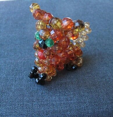 Vintage Faceted Plastic Beaded Pekingese Puppy Dog Miniature Figurine