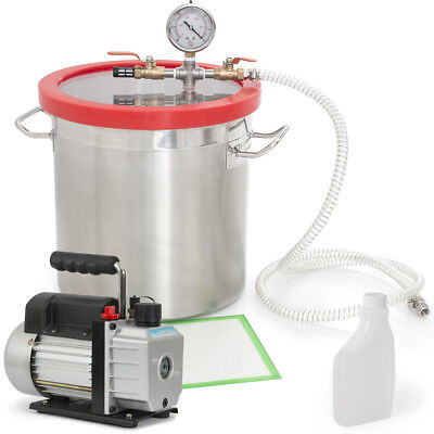 5CFM Vacuum Pump (1/2HP) and 5-Gallon Vacuum Chamber Silicone Degassing Expoxy