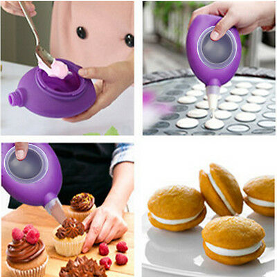New Silicone Piping Cream Icing Bag Pastry Pen Baking Cake Decorating +6 Nozzles