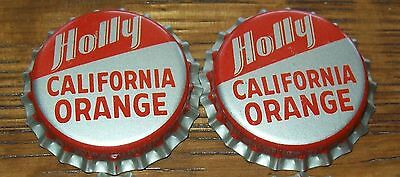 Lot of 2 Vintage Holly California Orange Unused Soda Pop Bottle Caps