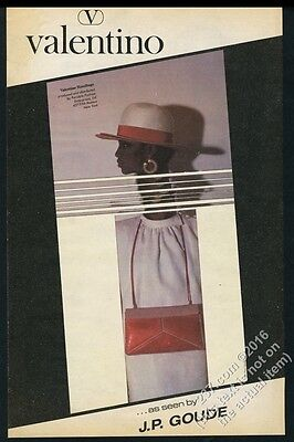 1983 Jean-Paul Goude photo Valentino hat purse fashion BIG vintage print ad