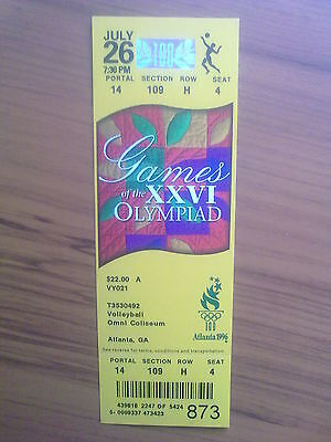Ticket Olympic Games ATLANTA 26.07.1996 VOLLEYBALL (7:30 PM)