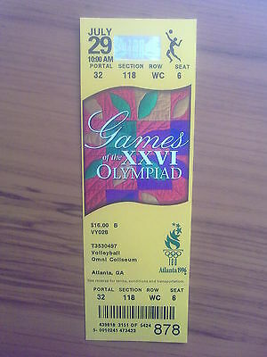 Ticket Olympic Games ATLANTA 29.07.1996 VOLLEYBALL (10:00 AM)
