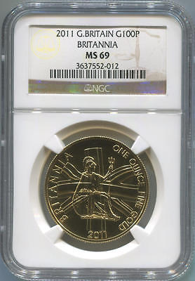 2011 Great Britain Gold 100 Pound. Britannia. NGC MS69