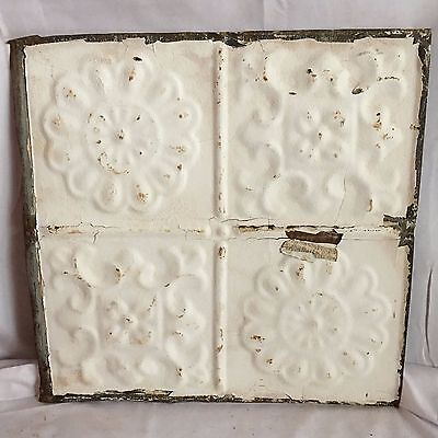 1890's 12 x 12 Antique Tin Ceiling Tile Metal Reclaimed White Anniversary 146-17