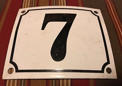 Vintage FRENCH White Black PORCELAIN DOOR HOUSE GATE Number Plate Sign 7