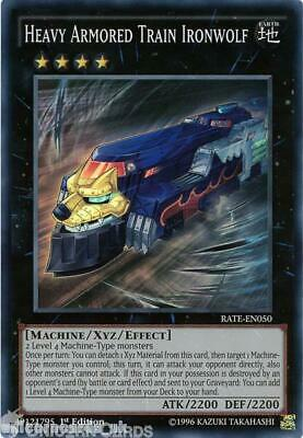 RATE-EN050 Heavy Armored Train Ironwolf Super Rare 1st Edition Mint YuGiOh Card