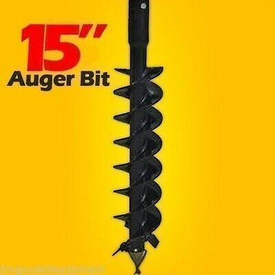 "15"" Skid Steer Auger Bit,McMillen HDC,For Difficult Digging,4'Long,2"" Hex Drive"