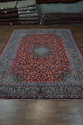 Stunning Red Semi Antique Signed Kashmar Persian Oriental Area Rug Carpet 10X13