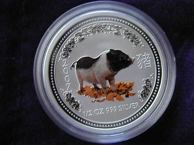 2007 Australia Series 1 Color Lunar Year Of The Pig 1/2oz Silver Coin in Capsule